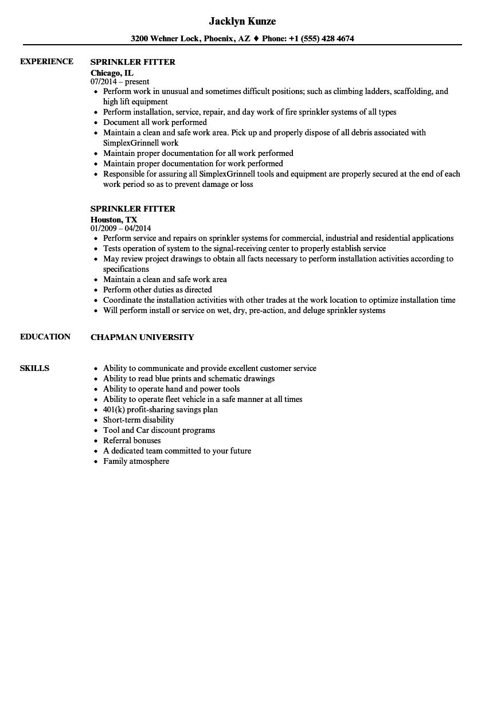 Sprinkler Fitter Resume Samples Velvet Jobs