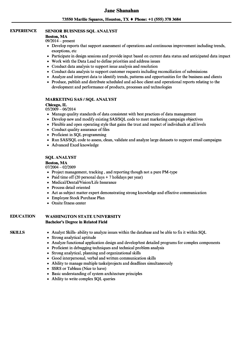 sql resume examples