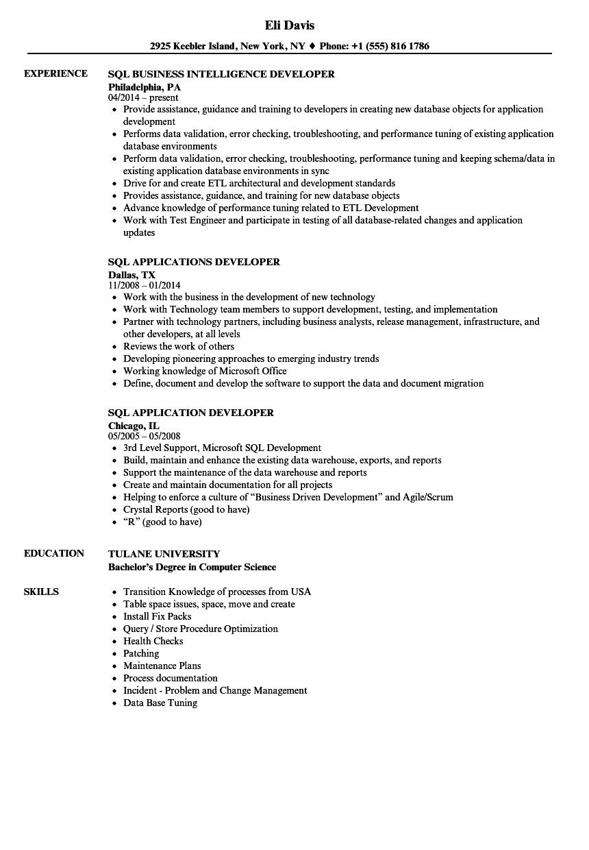 SQL Resume Samples Velvet Jobs
