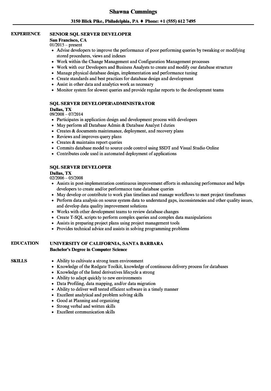 sql server developer resume examples