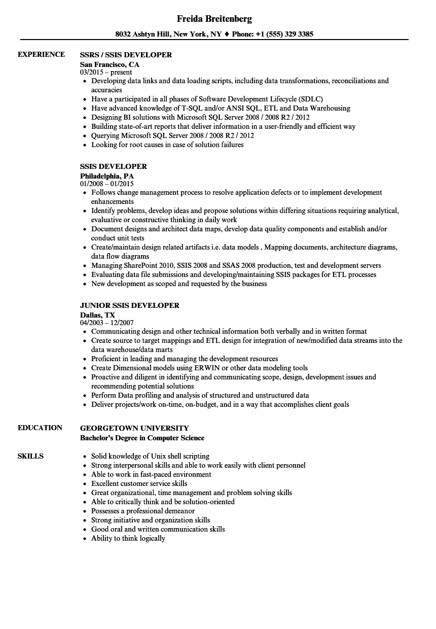 Ssis Developer Resume Samples Velvet Jobs