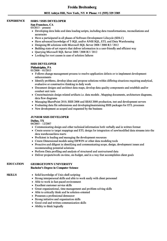 example resume sql developer