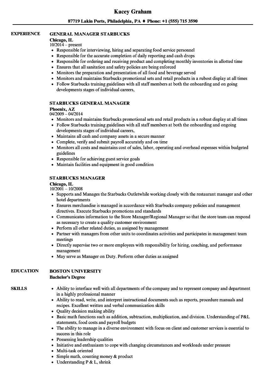 Starbucks Manager Resume Samples Velvet Jobs