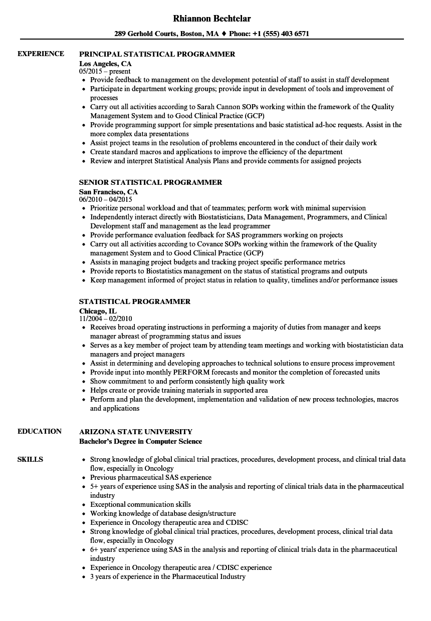 Statistical Programmer Resume Samples Velvet Jobs