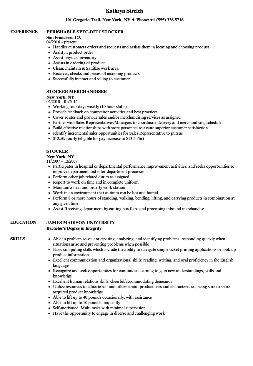 Resume For Cashier And Stocker