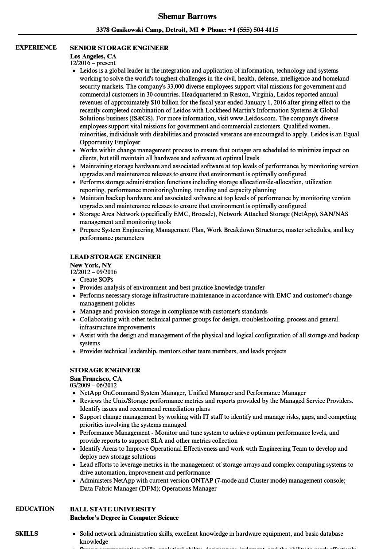 storage administrator resume sample