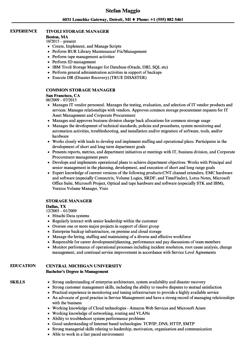 Storage Manager Resume Samples Velvet Jobs