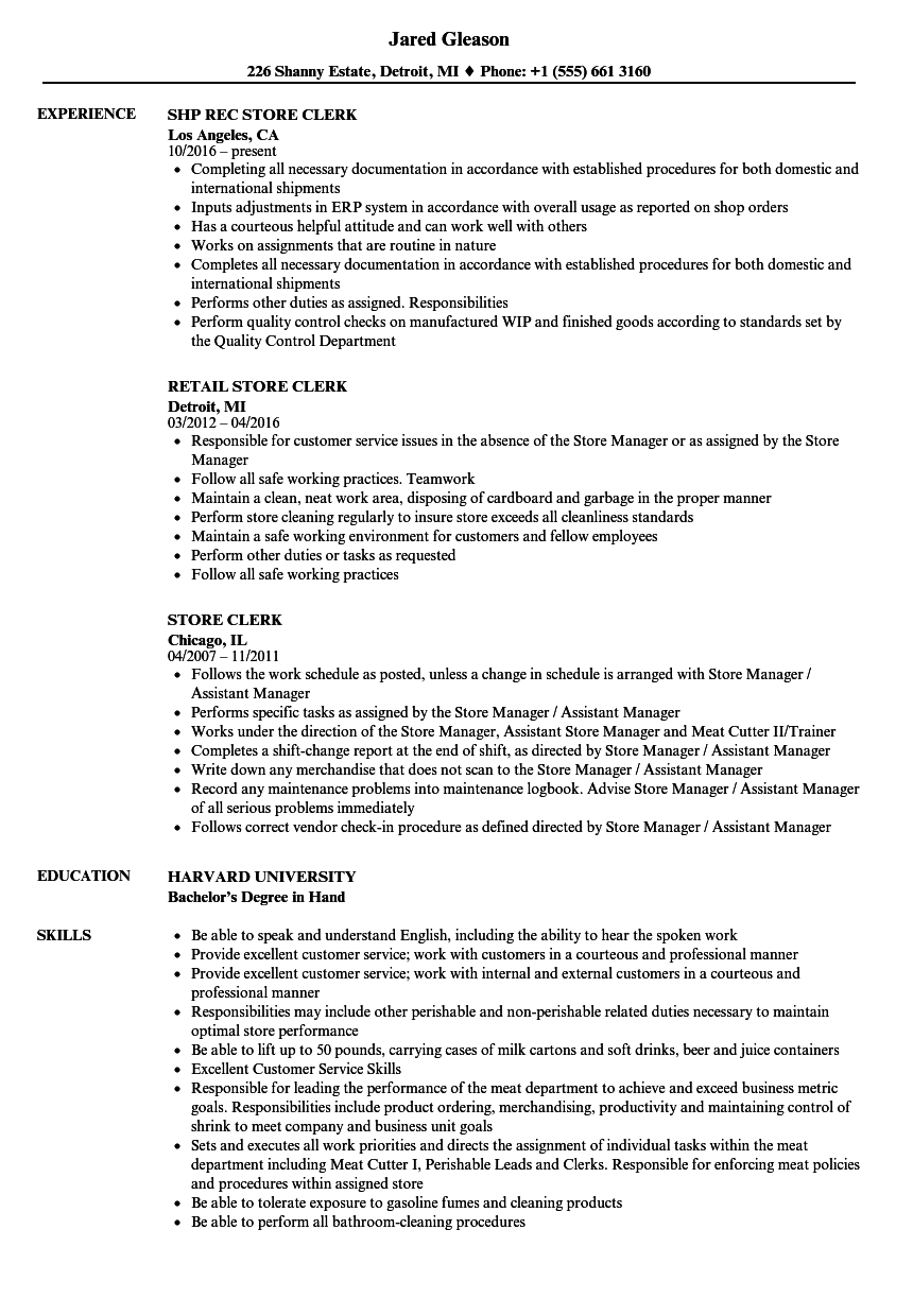 produce clerk resume