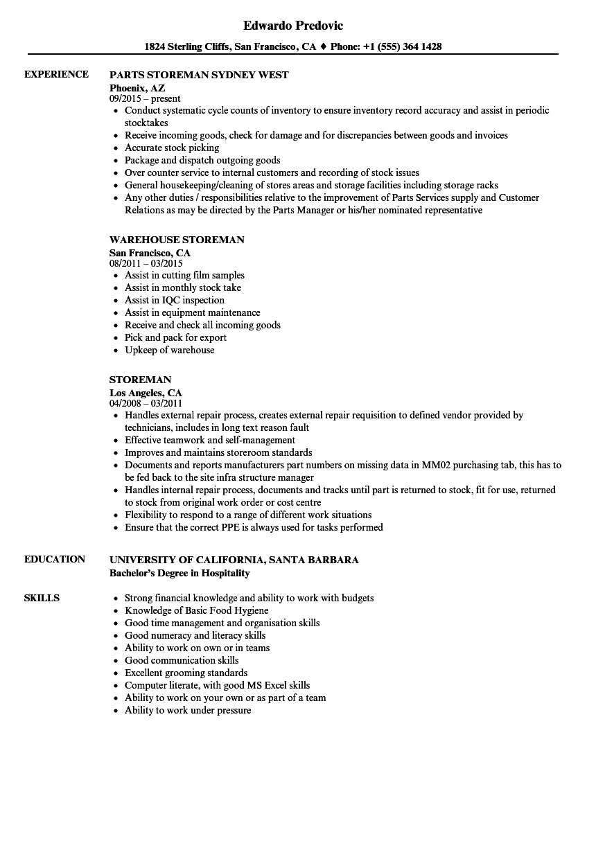 Storeman Resume Samples Velvet Jobs