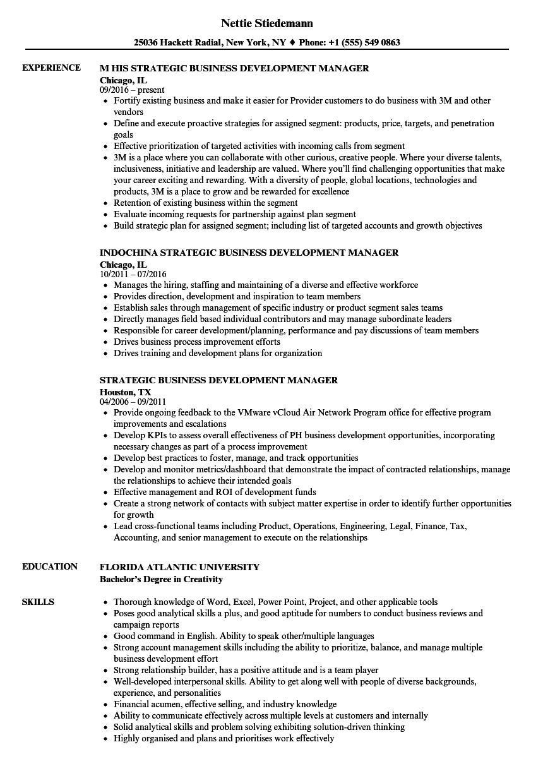 Strategic Business Development Manager Resume Samples