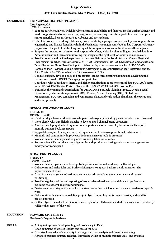 Strategic Planner Resume Samples Velvet Jobs