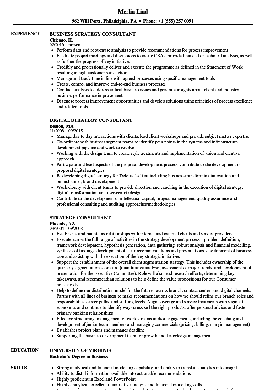 resume sample for strategy consultant