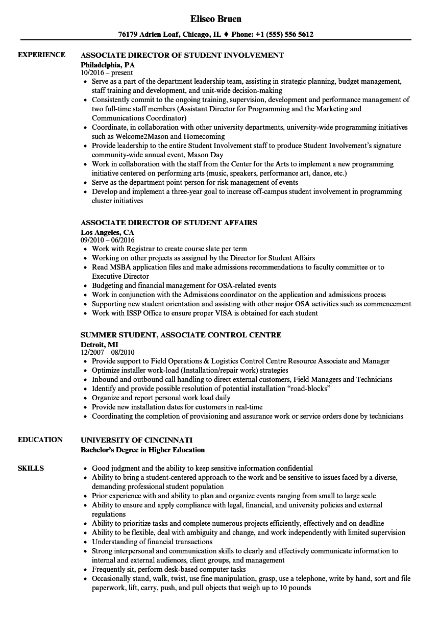 Download Student Associate Resume Sample As Image File