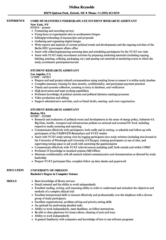 Student Research Assistant Resume Samples Velvet Jobs