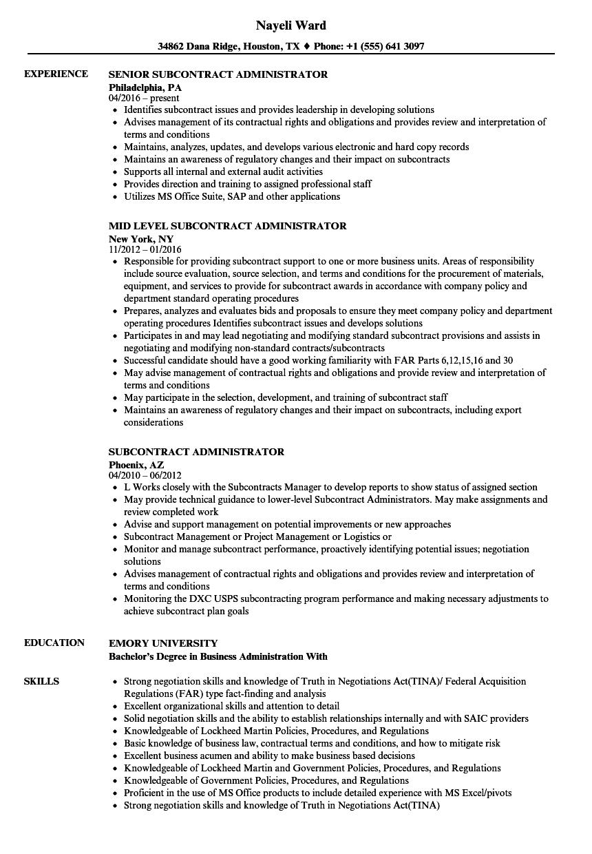 Subcontract Administrator Resume Samples Velvet Jobs