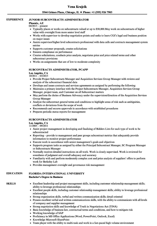 Subcontracts Administrator Resume Samples  Velvet Jobs