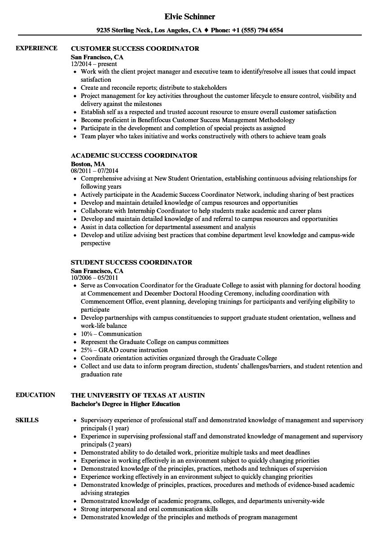 Download Success Coordinator Resume Sample As Image File