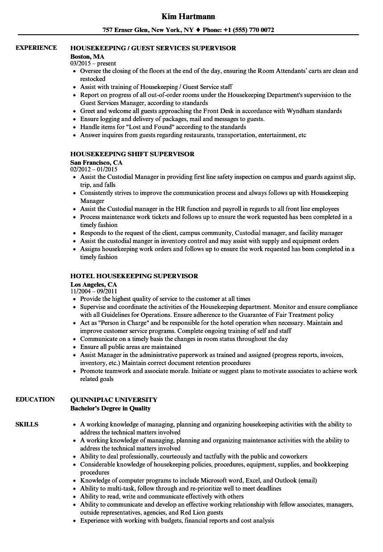 Supervisor Housekeeping Resume Samples Velvet Jobs