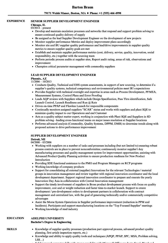Supplier Development Engineer Resume Samples Velvet Jobs