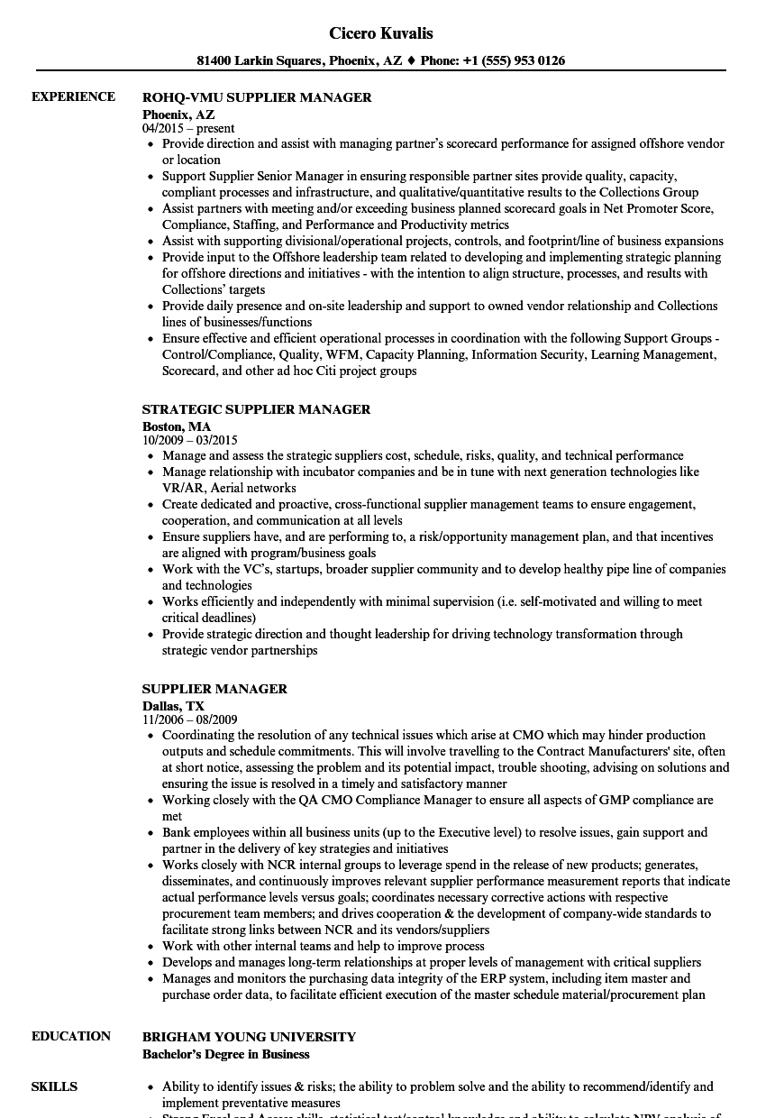 supplier quality manager resume sample