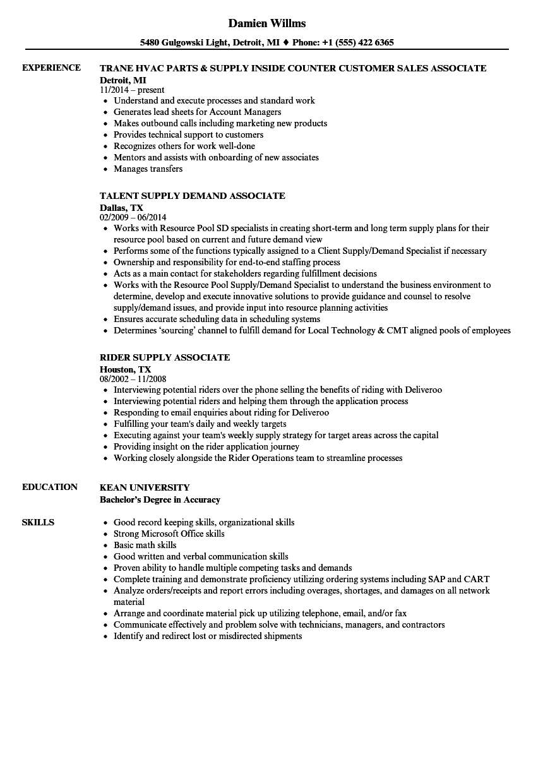 Download Supply Associate Resume Sample As Image File