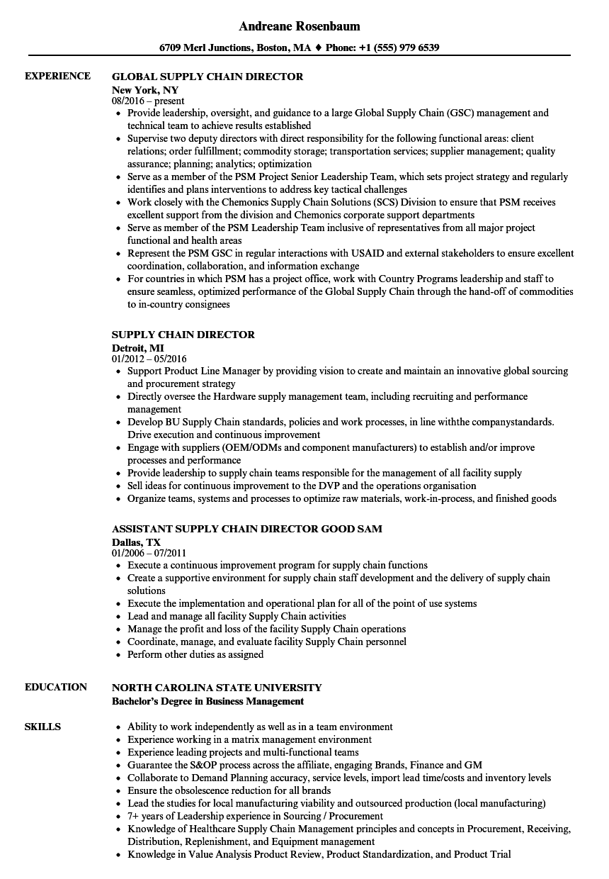 Supply Chain Director Resume Samples Velvet Jobs