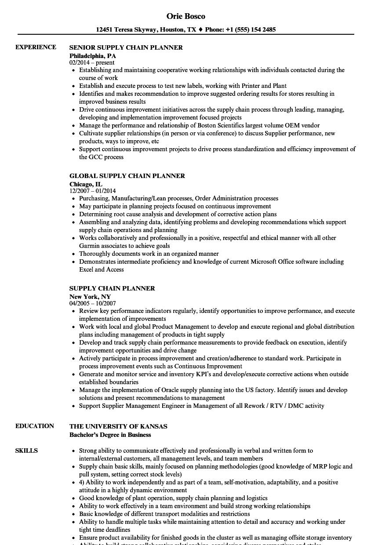 supply chain intern resume sample