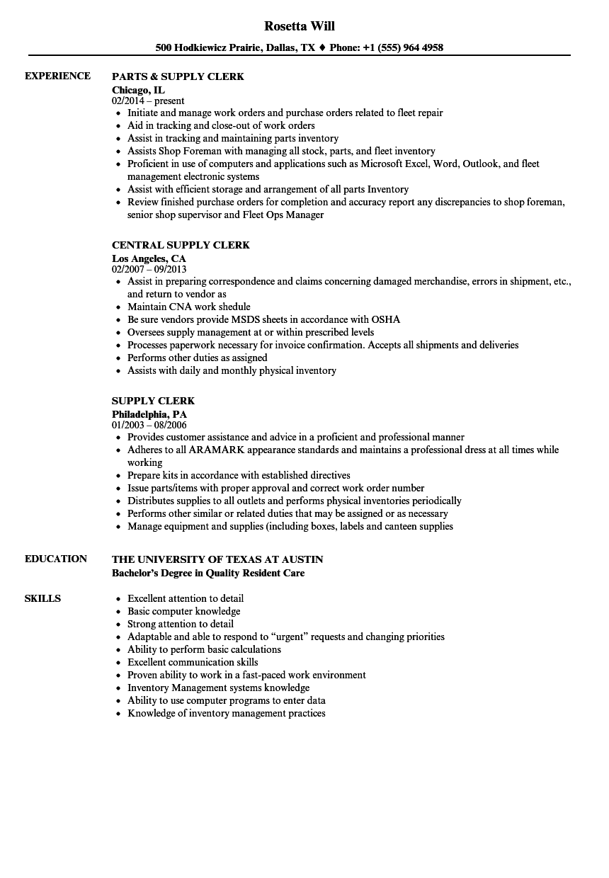 Supply Clerk Resume Samples  Velvet Jobs