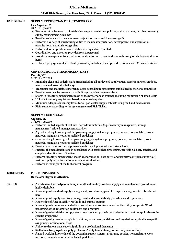 Supply Technician Resume Samples Velvet Jobs