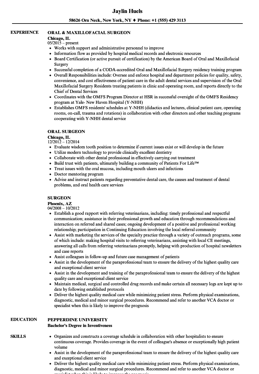sample resume orthopaedic surgeon