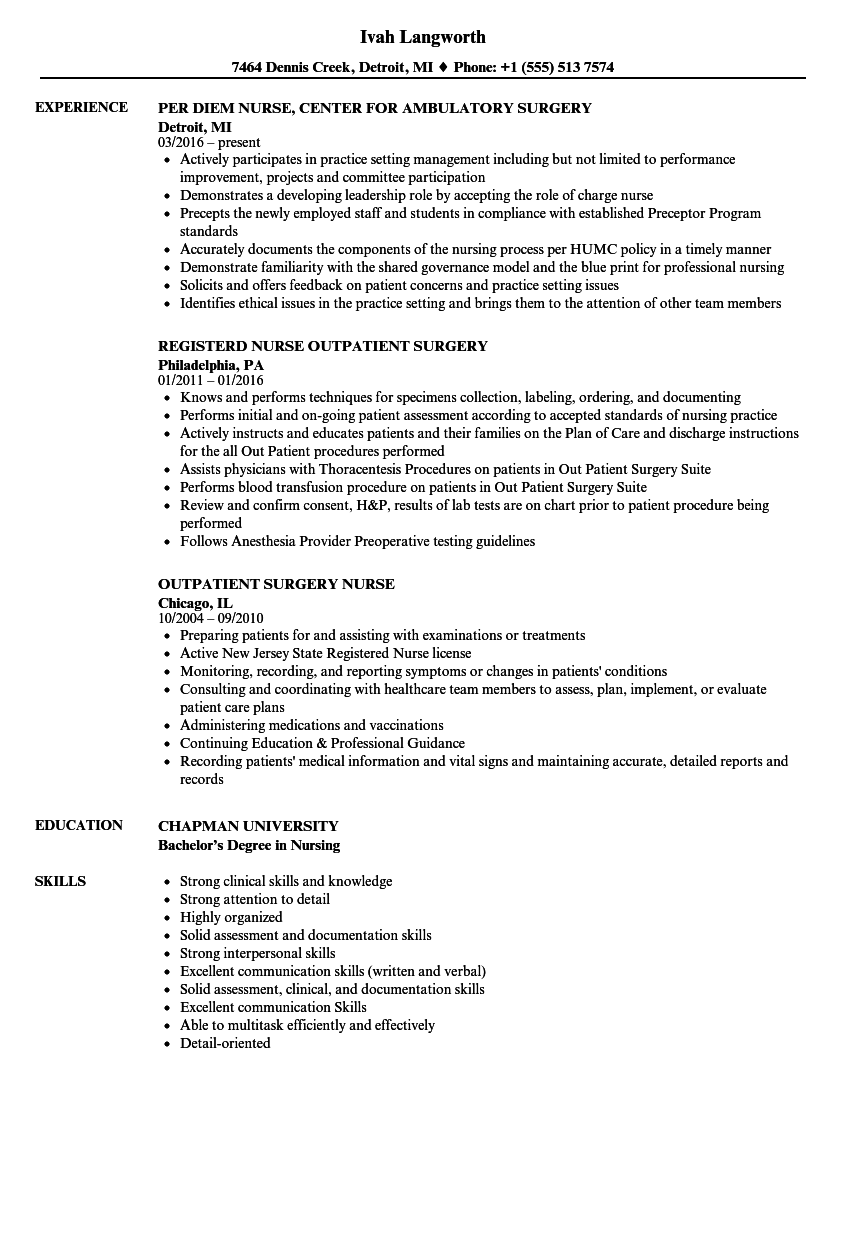 plastic surgery resume examples