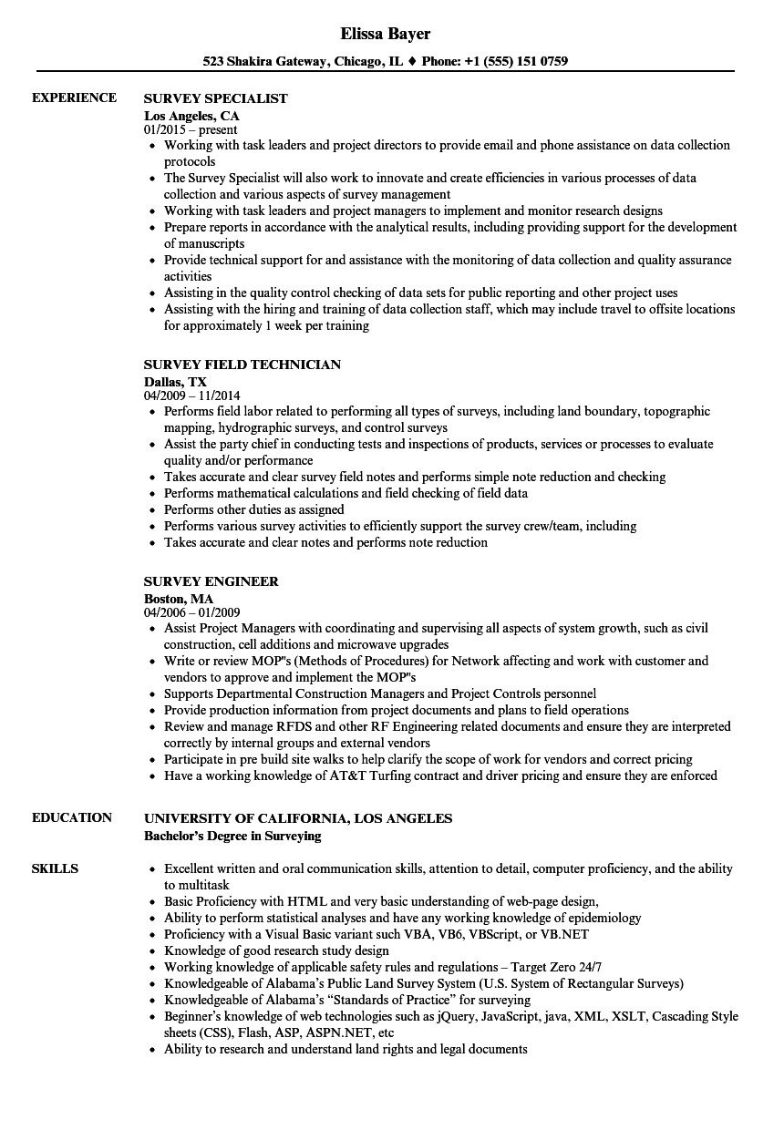 survey assistant resume sample