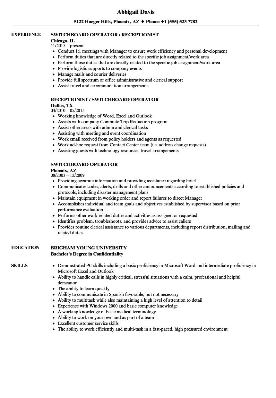 resume sample for job description militry switchboard operator