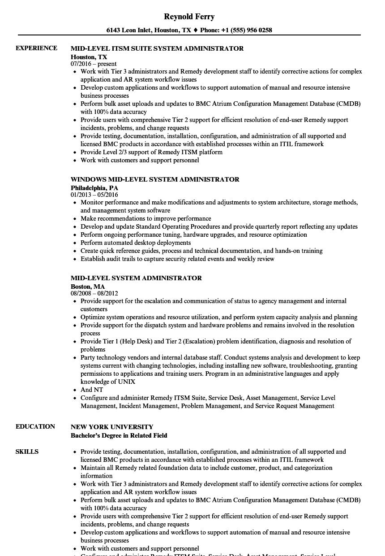 System Administrator Mid Resume Samples Velvet Jobs