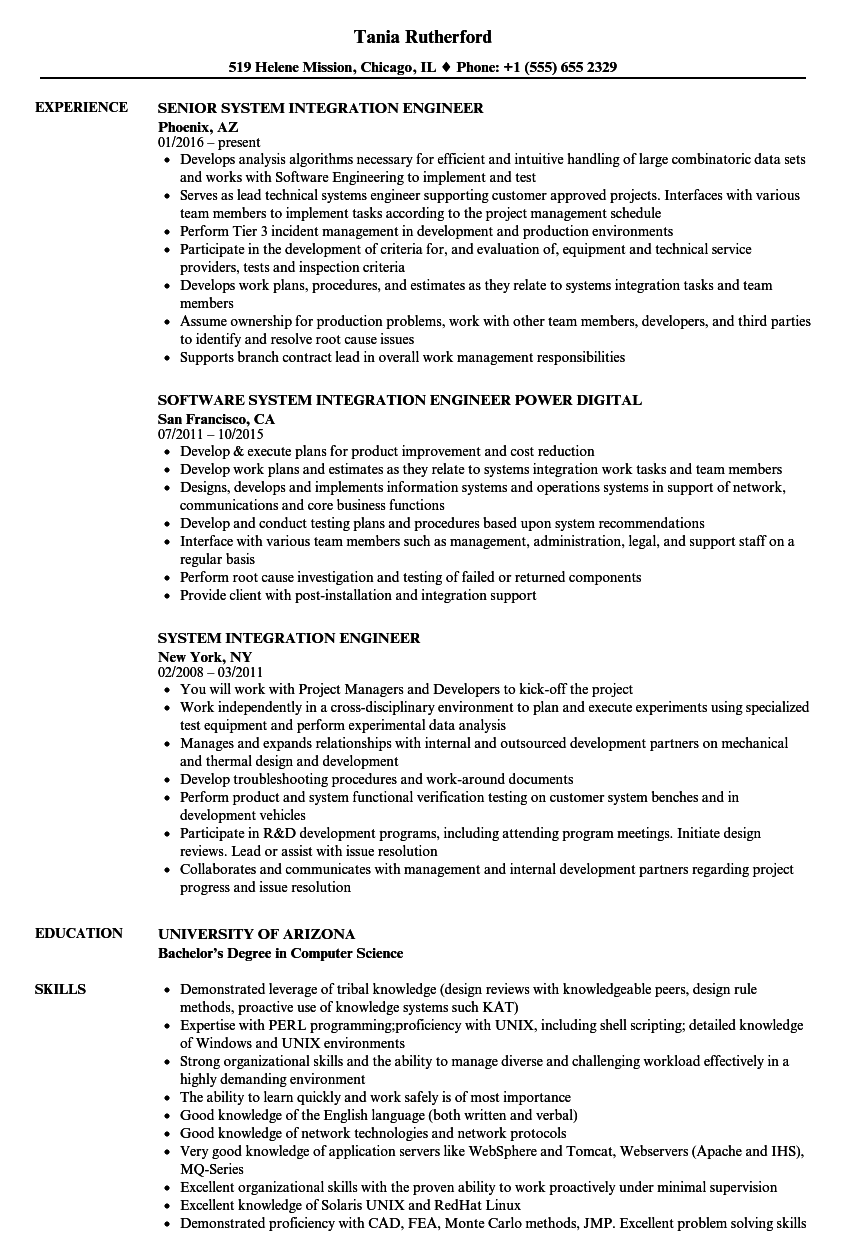 System Integration Engineer Resume Samples Velvet Jobs
