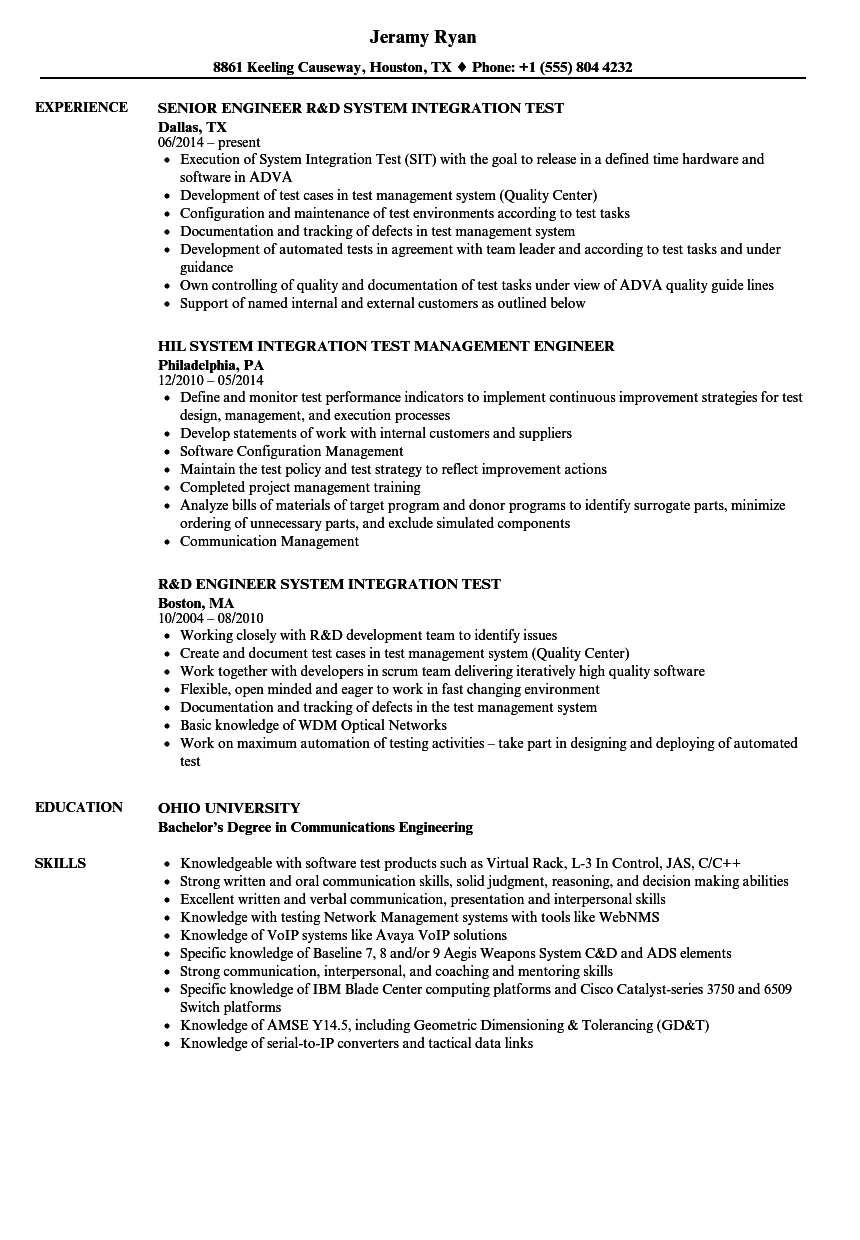 System Integration Resume Samples Velvet Jobs