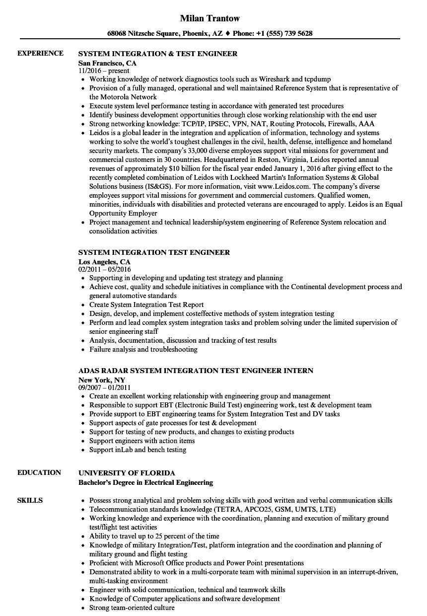 System Integration & Test Engineer Resume Samples Velvet