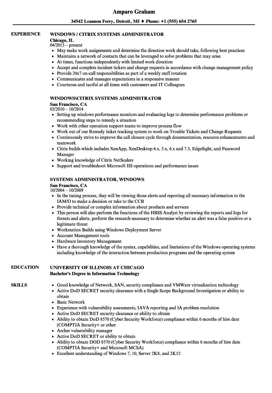 Systems Administrator Windows Resume Samples Velvet Jobs