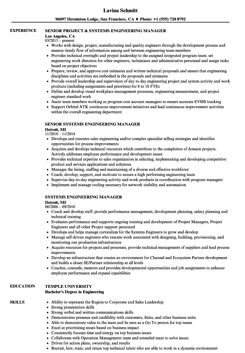 systems engineering resume examples