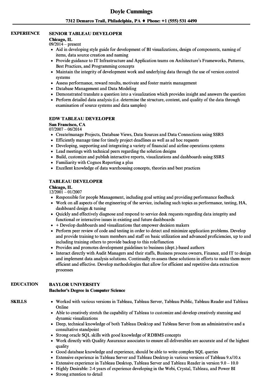 Tableau Developer Resume Samples Velvet Jobs