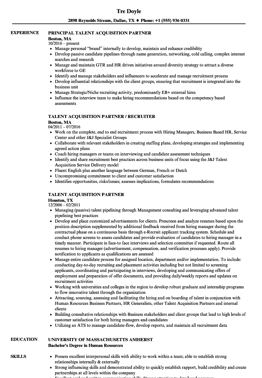 Talent Resume Example