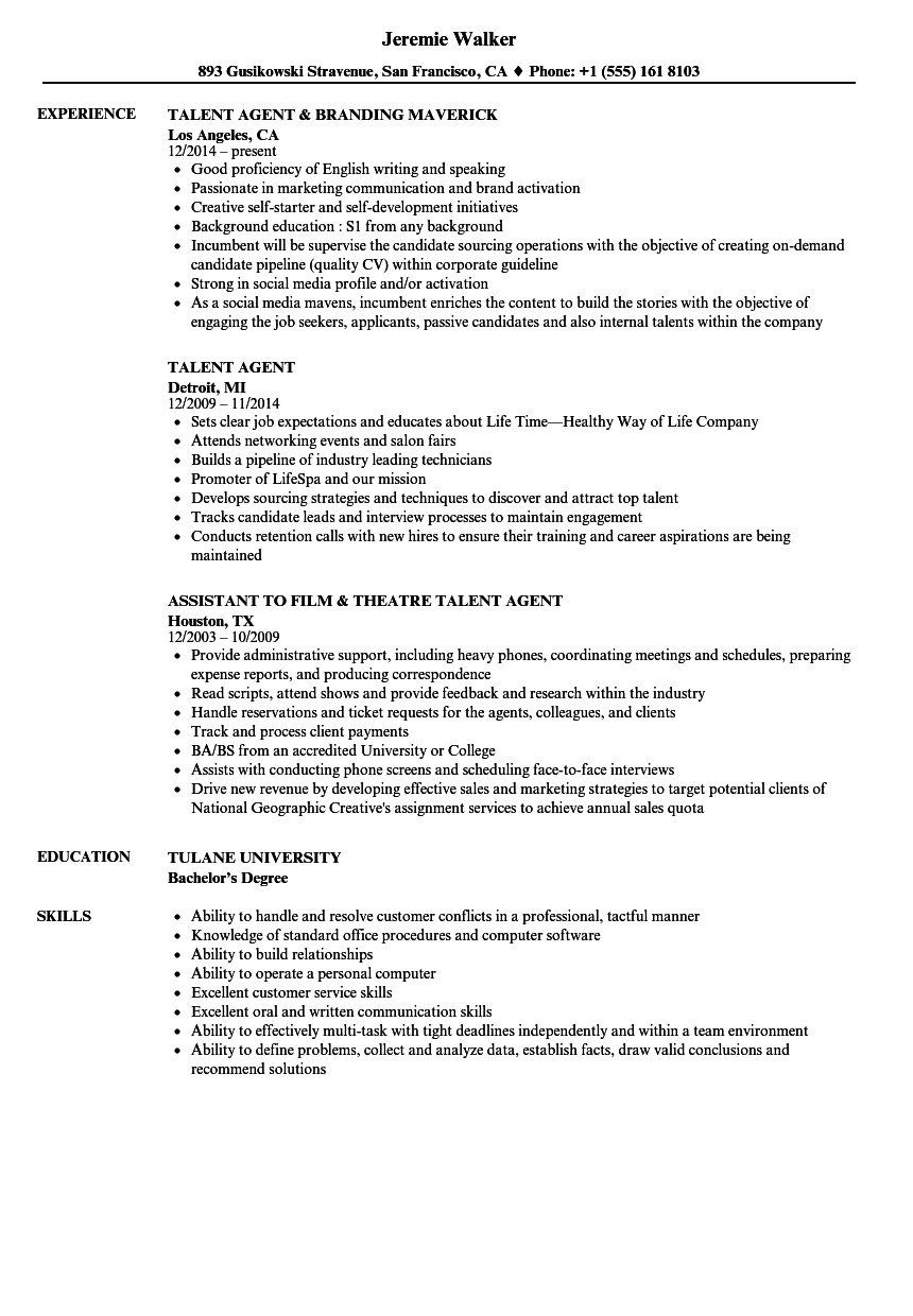 Talent Agent Resume Samples Velvet Jobs