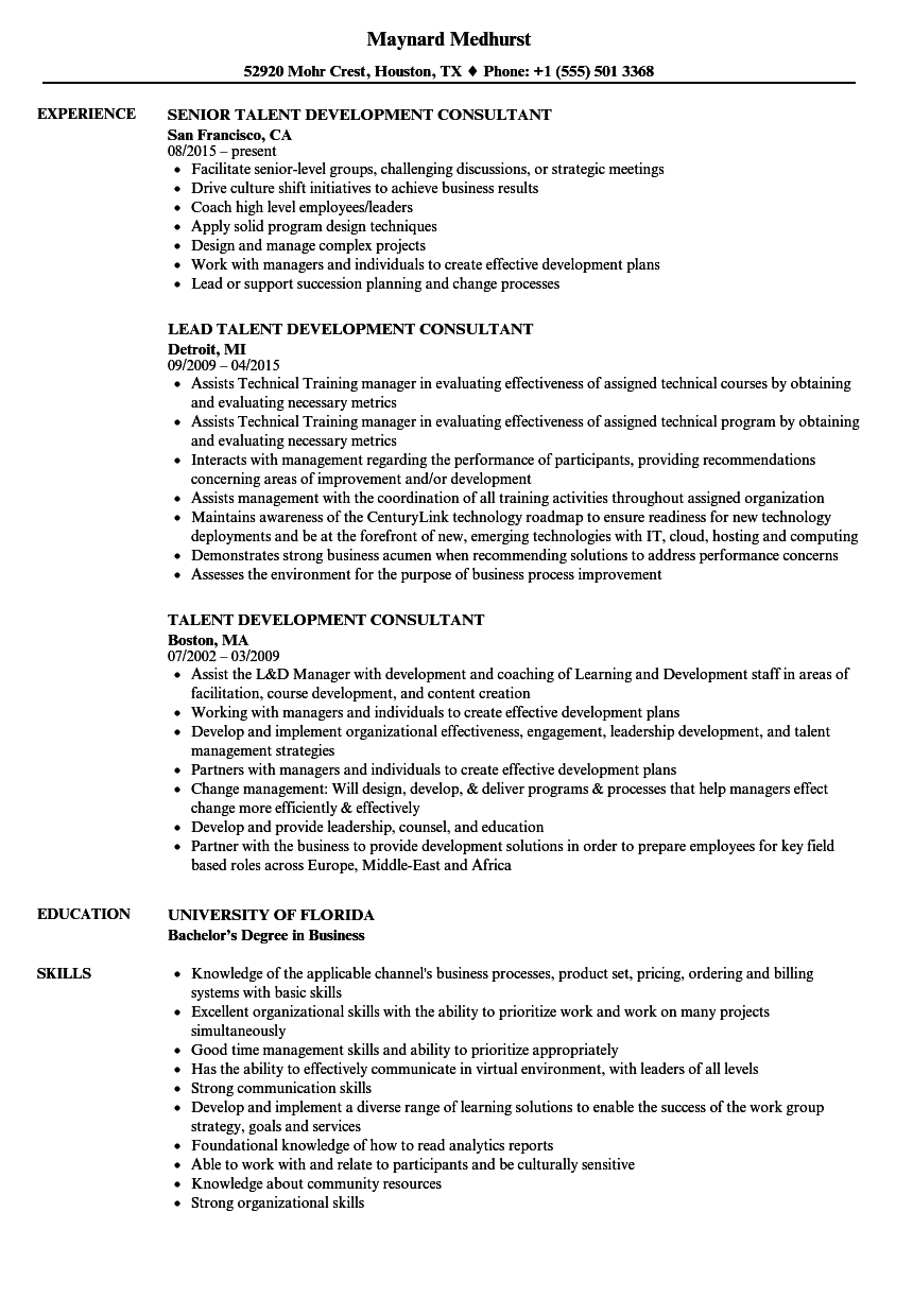 Download Talent Development Consultant Resume Sample As Image File