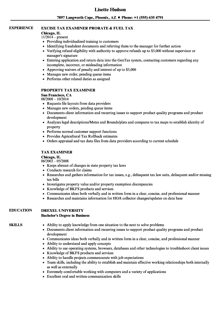 Tax Examiner Resume Samples Velvet Jobs