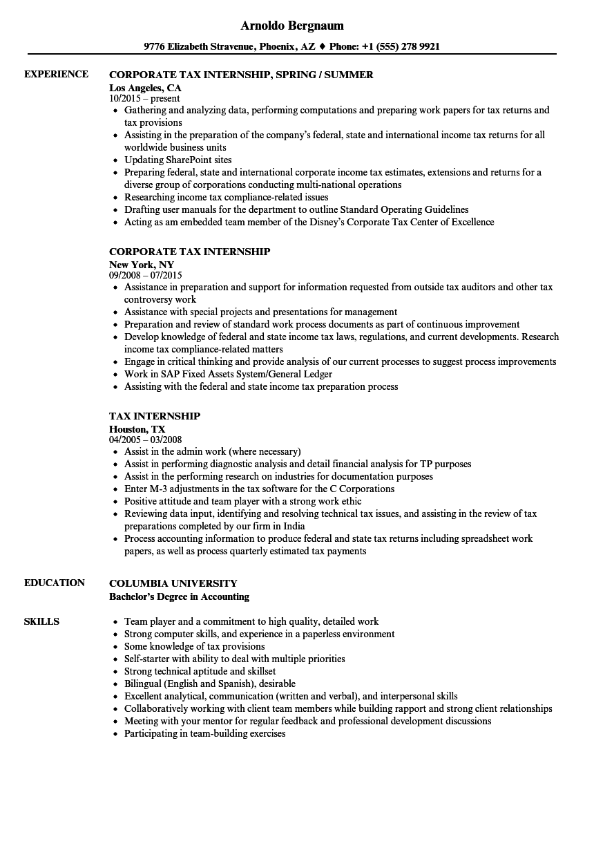 Tax Internship Resume Samples Velvet Jobs