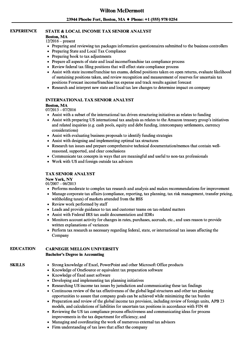 senior tax analyst resume sample