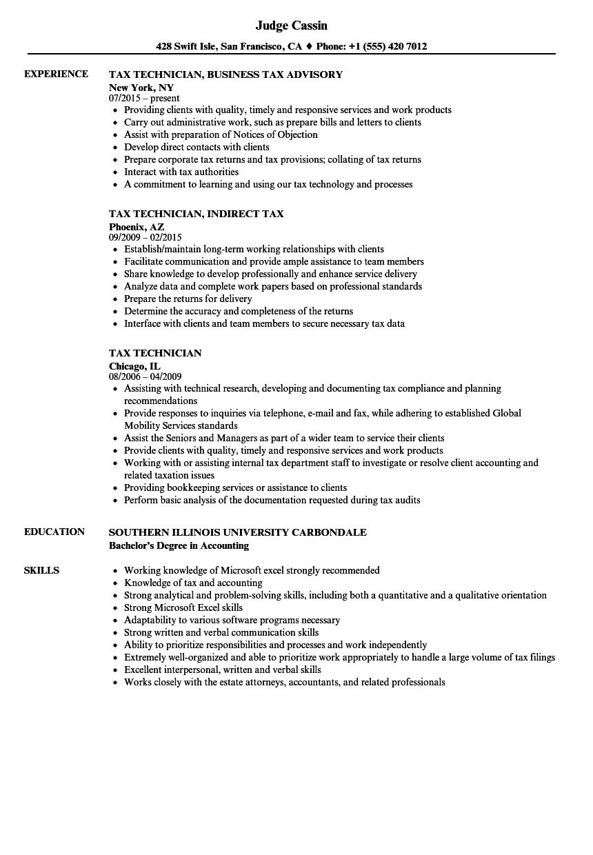 Download Tax Technician Resume Sample As Image File