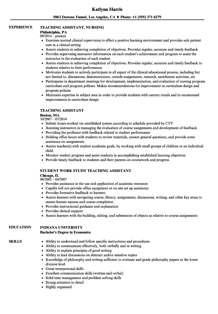 Resume Example Teaching Assistant Special Needs Teaching