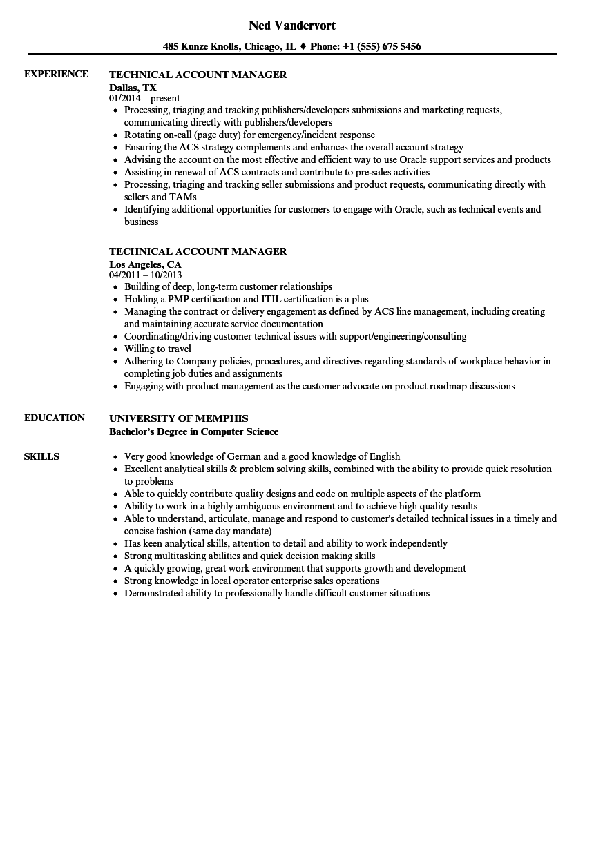Technical Account Manager Resume Samples | Velvet Jobs