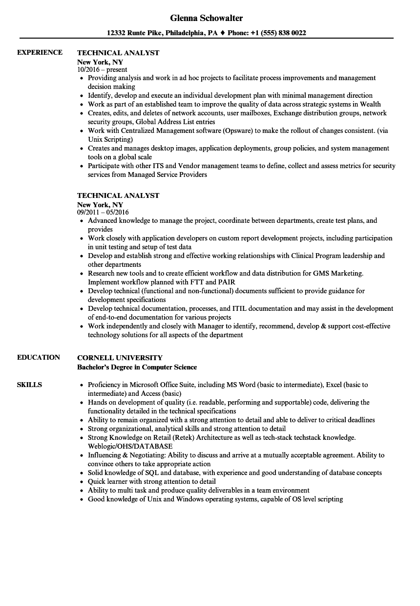 technical support analyst resume sample